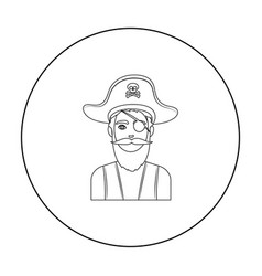 Pirate with eye patch icon in outline style vector