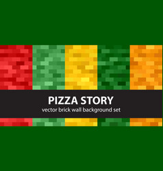 rectangle pattern set pizza story seamless vector image