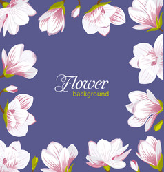 Old border made of beautiful magnolia flowers vector