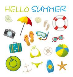 Set of cartoon summer accessories vector