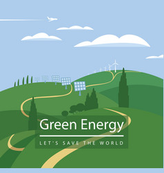Landscape with wind turbines and solar panels vector