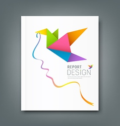 Cover magazine colorful origami birds vector