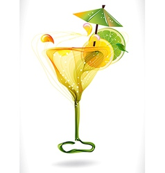 Abstract colorful cocktail with fruit over white vector