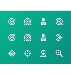 Target icons on green background vector