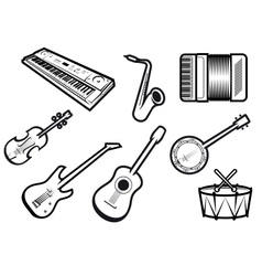 Acoustic and electric musical instruments vector image