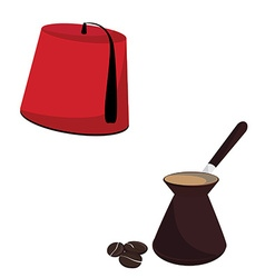 Turkish hat and coffee pot vector