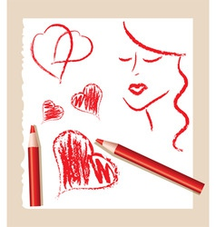Pencil sketch of red hearts and beautiful woman vector