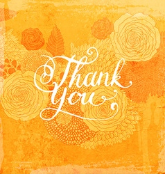Floral thank you card vector