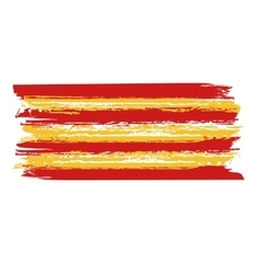 Catalan flag painted by brush hand paints vector image