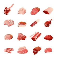 Meat products icons set vector