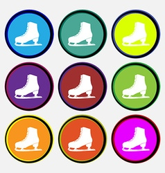 Ice skate icon sign nine multi colored round vector