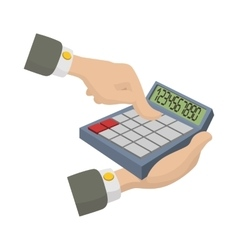 Hands with calculator icon cartoon style vector
