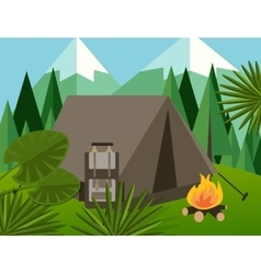 Camp forest mountain flat background vector