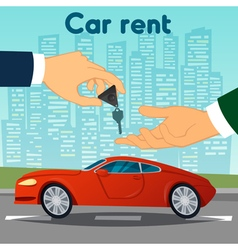 Car rent hand passing car keys automobile dealer vector
