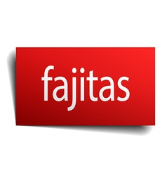 Fajitas red square isolated paper sign on white vector