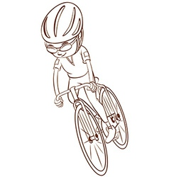 A plain sketch of a cyclist vector image vector image