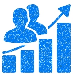 Audience growth bar chart grainy texture icon vector
