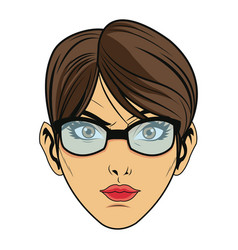 Beauty face woman with glasses and short hair vector