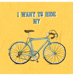 Bicycle vintage poster yellow vector