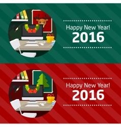 Christmas office table new year background vector