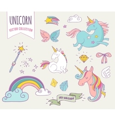cute magic collection with unicon rainbow fairy vector image