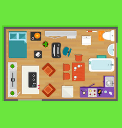 detailed rooms furniture overhead top view vector image vector image