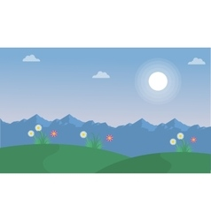 Flower on the hill spring landscape vector