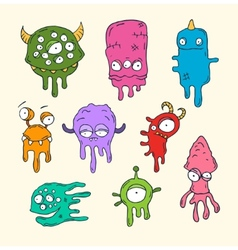 Friendly cool cute hand-drawn monsters collect vector