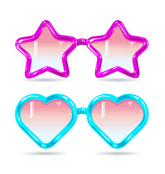 glasses style disco glasses in the shape of hearts vector image