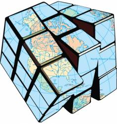 globe cube vector image vector image