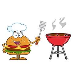 Hamburger chef cartoon cooking a bbq vector