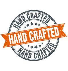 Hand crafted round grunge ribbon stamp vector