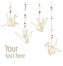 Isolated of hanging origami paper cranes vector