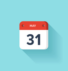 May 31 isometric calendar icon with shadow vector