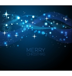 Merry Christmas blue greeting card with vector image