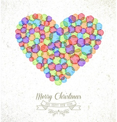 Merry Christmas watercolor heart card vector image
