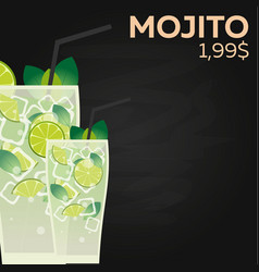 Mojito price fast food restauran menu vector