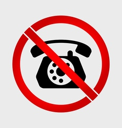 No phone old phone prohibition sign vector image vector image