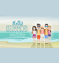 People group on summer beach vacation concept vector