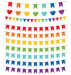 Rainbow colors bunting set vector image vector image