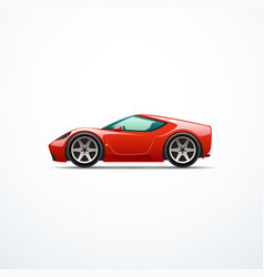 red cartoon sport car side view vector image vector image