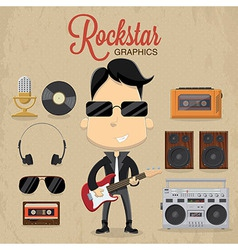 Rock star guy character design icon and vector image