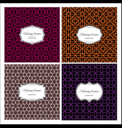 Seamless multicolor geometric patterns with frames vector