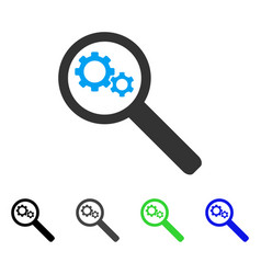 Search gears tool flat icon vector