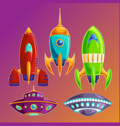 set amusing spaceships and ufos vector image vector image