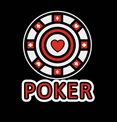 sign of poker red and white chip flat design vector image