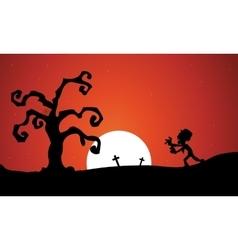 Silhouette oof Halloween zombie dry tree vector image vector image