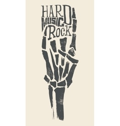 Skeleton hands Rock T-shirts for vector image