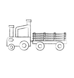 Tractor farm with carriage vector