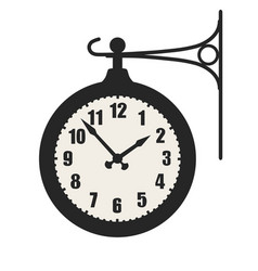 Train station clock sign symbol isolated on white vector
